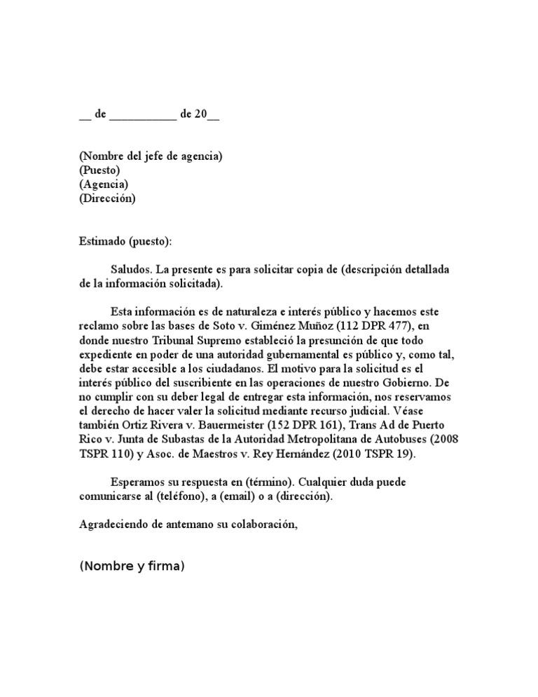 carta modelo de solicitud de información