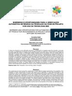 002_barreiras e Oportunidades Para a Verificação Automática de Regras Da Produção Na Fase de Projeto Com Uso Da Tecnologia Bim