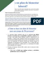Plan de Bienestar Laboral Psicología Organizacional