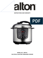 SALTON ELECTRIC PRESSURE COOKER MANUAL