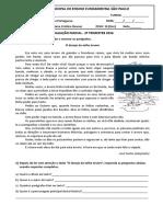 Avaliação Parcial de Português 2º Trimestre 2016