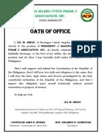 Certificate - Oath of Office - Homeowners Association 2