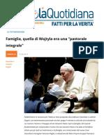 """Famiglia, quella di Wojtyla era una """"pastorale integrale"""""""