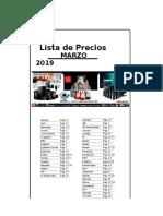 Lista de Precios MARZO 2019 M 2
