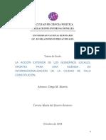 La Acción Exterior de Los Gobiernos Locales. Aportes Para Una Agenda de Internacionalización de l
