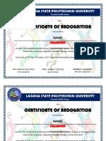 Certificate Intramurals