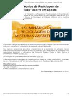 """""""II Seminário Técnico de Reciclagem de Misturas Asfálticas"""" Ocorre Em Agosto – Campus São Carlos"""