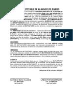Contrato Privado de Alquiler de Dinero y Reconocimiento