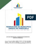 Documento constitutivo de la Federación de Municipios Unidos de Venezuela.