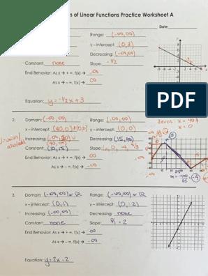 characteristics of linear function pratice worksheet a hw ak