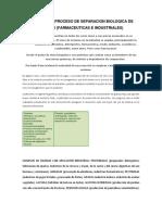 Principios y Proceso de Separacion Biologica de Enzimas