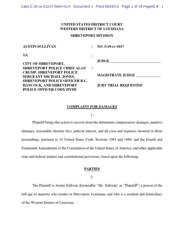Austin Sullivan -- Complaint for Damages   Damages   Tort