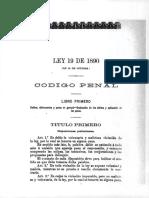 Ley 19 de 1890 Codigo Penal Libro Primero