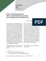 Sobre El Potencial Teórico de Las Representaciones Sociales en El Campo de La Comunicación