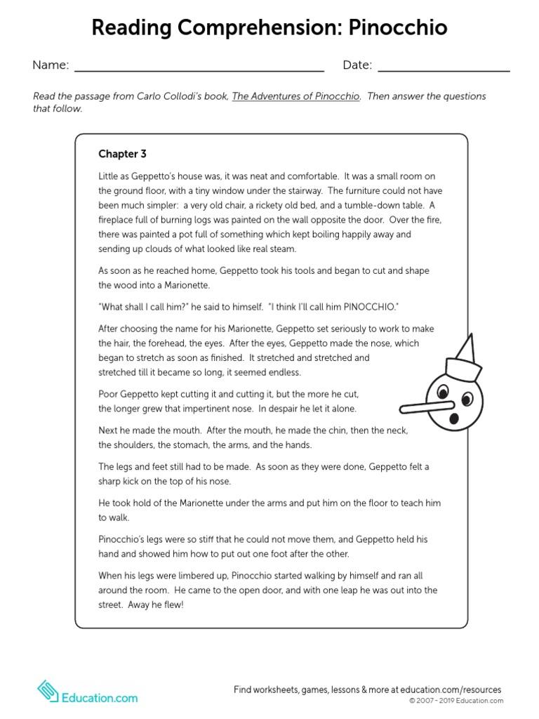 Reading Comprehension Pinocchio