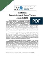 Argentina Exportaciones de Carne Vacuna Junio de 2019