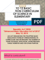 K to 12 Basic Education Curriculum of Science
