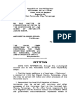 Sample of Petition of Change of Name
