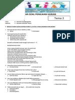 Soal Tematik Kelas 2 SD Tema 2 Subtema 2 Bermain Di Rumah Teman Dan Kunci Jawaban