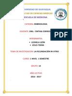Embriologia Investigacion Fecundacion in Vitro