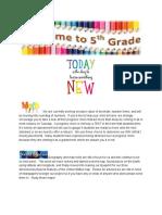 fifth grade team newsletter