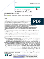 The Relationship Between Learning Styles and Academic Performance in TURKISH Physiotherapy Students