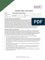 Team Manager appraisal sample document