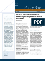 The Future of Syria's Economic Reforms between Regional Integration and Relations with the West