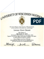 University of Wisconsin Bachelor of Arts Diploma