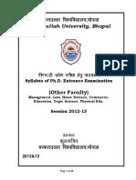 Syllabus of Ph.D. Entrance Examination - Barkatullah University ...