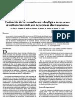 Evaluación de la corrosión microbiológica en acero al carbono
