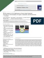 Avances Recientes en Las Aplicaciones de Electrodos de Diamante Dopados Con Boro en El Electroanálisis de Compuestos Orgánicos y Biomoléculas