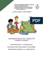 1. Proyecto de Campamento Primaria 20 de Nov.