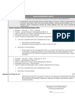 PDF work experience sheet