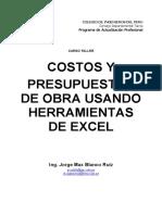 Costos y Presupuestos Con Excel