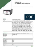 Replacement Battery Cartridges APCRBC113 APC