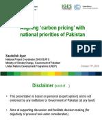 Aligning Carbon Pricing With National Priorities of Pakistan. Saadullah Ayaz