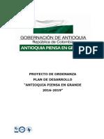 Proyecto de Ordenanza Plan de Desarrollo Antioquia Piensa en Grande 2016-2019.pdf