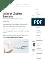 Basics of Quadratic Equations