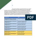 PGCert performance teaching workshop schedule 2019-20