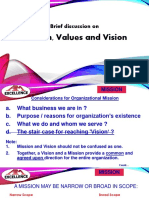 Mission Values and Vision