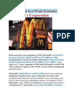 Doing Great in a Weak Economy - McDonald's Corporation