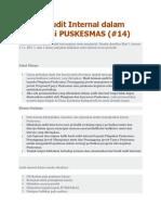 Teknik Audit Internal Dalam Akreditasi PUSKESMAS