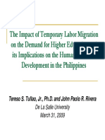 Impacts on temporary labor migration