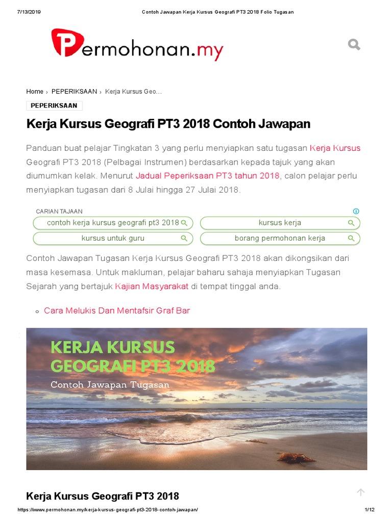 Kerja Kursus Geografi Pt3 2018 Contoh Jawapan
