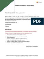 Modelo Informe Atención y Concentración