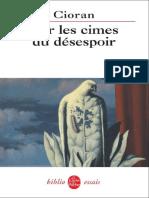 CIORAN Sur Les Cimes Du Desespoir