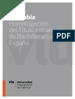 Colombia, homologación de título extranjero de bachillerato en España