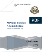 MPhil Sample Test 2019