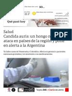 Candida Auris_ Un Hongo Mortal Ataca en Países de La Región y Pone en Alerta a La Argentina - 08-04-2019 - Clarín.com